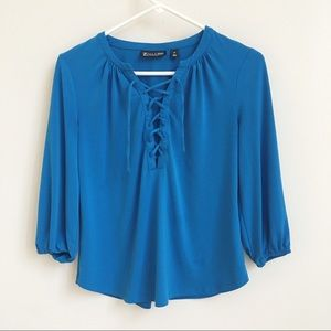 New York & Company Brilliant Blue Lace Up Top